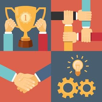 Poignée de main partenariat victoire trophée engrenages illustration vectorielle