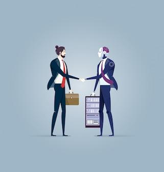 Poignée de main robot avec l'homme d'affaires.