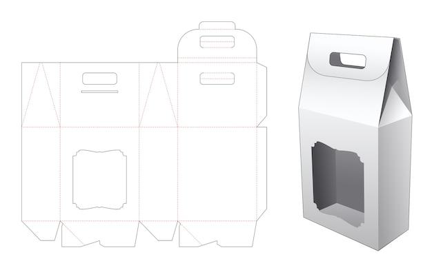 Poignée sac en carton avec modèle de découpe de fenêtre de luxe
