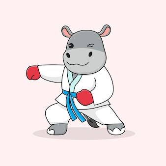 Poinçonnage martial hippopotame mignon
