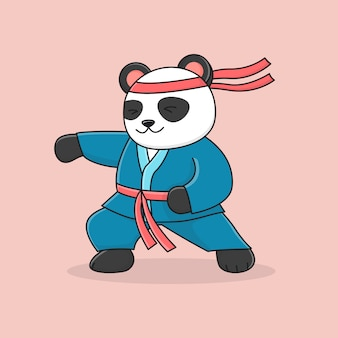 Poinçonnage Martial Mignon Panda Vecteur Premium