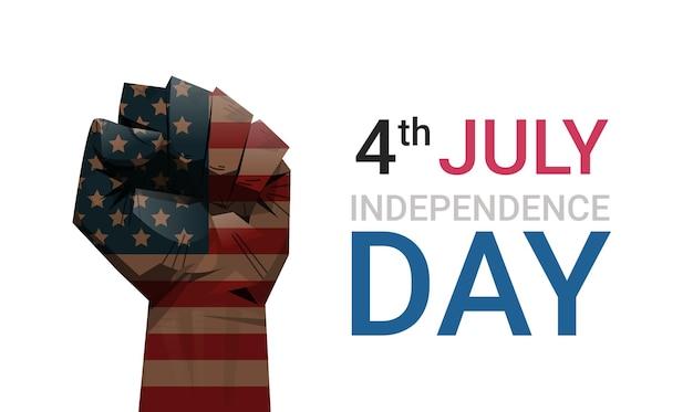Le poing levé du drapeau des états-unis peint, bannière du 4 juillet