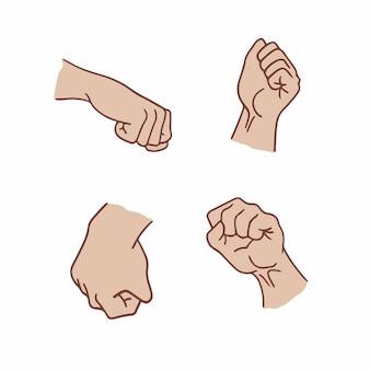Poing main symbole médias sociaux post illustration vectorielle