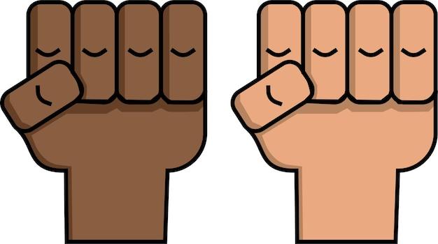 Les poings dans les vies noires élevées comptent affiche dessinée à la main
