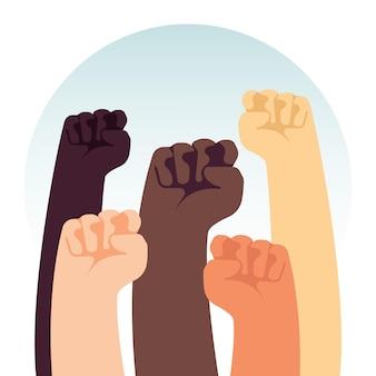 Poings levés multiraciaux