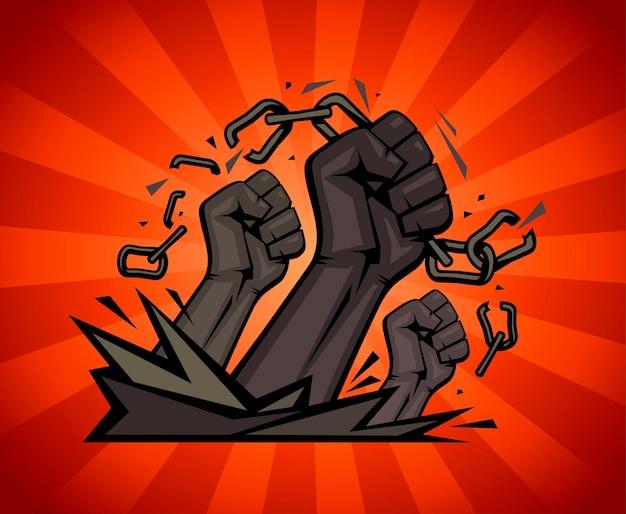 Poings multiraciaux déchirant des chaînes sur un fond de rayons, illustration vectorielle