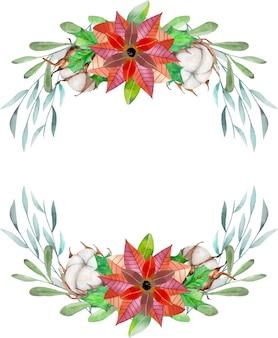 Poinsettia aquarelle et fleurs de coton