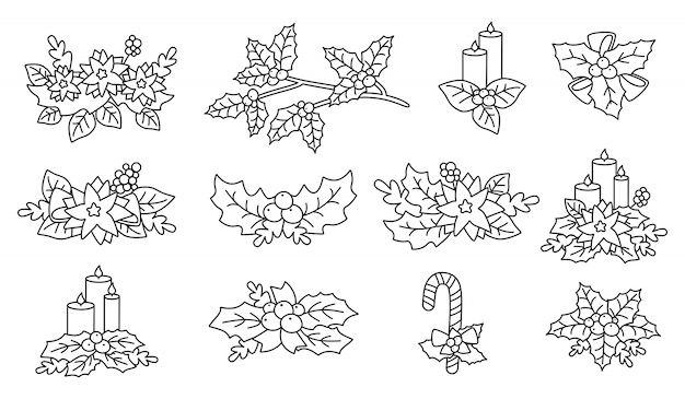 Poinsettia de noël, houx, ensemble de bougies. éléments de conception de dessin animé plat linéaire. composition du nouvel an et de noël. baies et bonbons, collection de fleurs, avec étoiles. illustration isolée