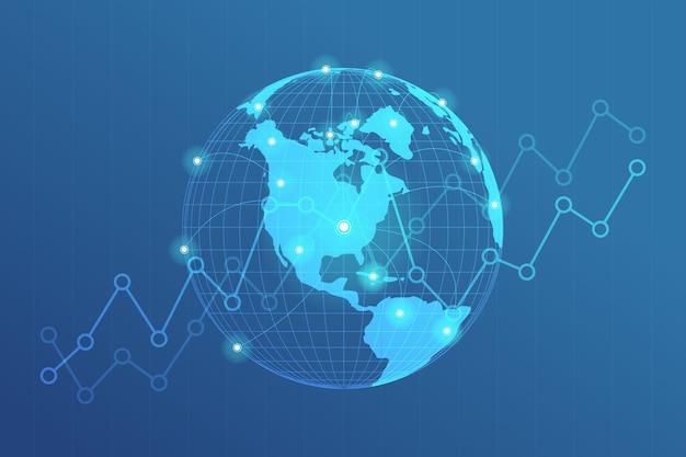 Point de carte du monde avec le concept de connexion de points