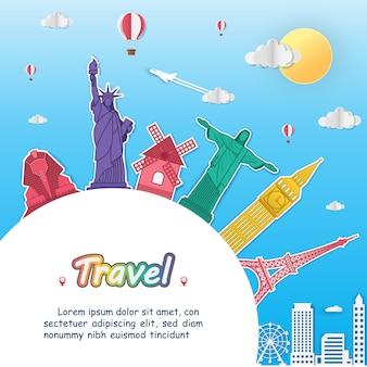 Point d'enregistrement avion voyage autour du monde