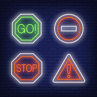 Point d'exclamation, allez et arrêtez le panneau de signalisation au néon