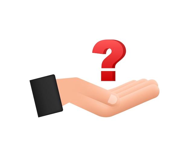 Point d'interrogation 3d dans les mains pour la conception de concept illustration vectorielle de technologie