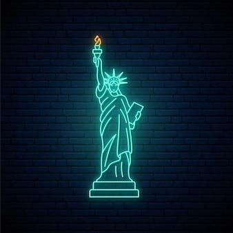 Point de repère célèbre de new york de la statue de la liberté au néon