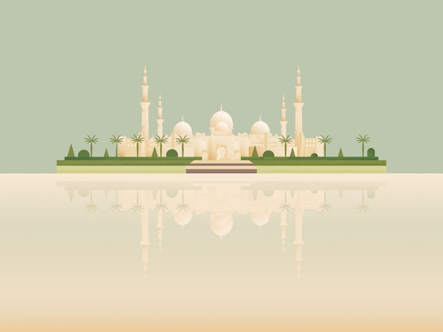 Point de repère de dessin animé minimaliste de la meilleure célèbre mosquée islamique.