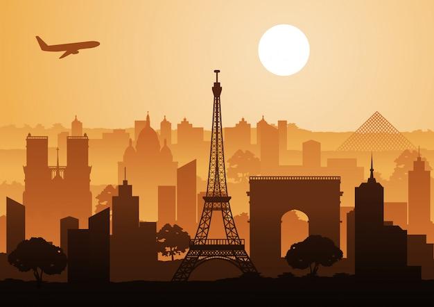 Point de repère de la france, style silhouette de coucher de soleil