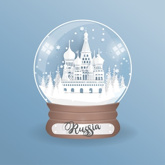 Point de repère de la russie dans un globe, boule de verre.