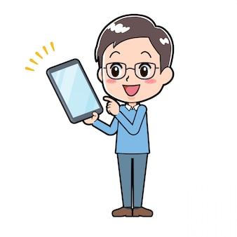 Point de tablette homme personnage dessin animé mignon