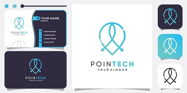 Point tech logo technologie de localisation minimaliste moderne vecteur premium