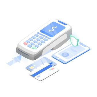 Point de vente, terminal ou lecteur électronique, téléphone portable et cartes de crédit ou de débit