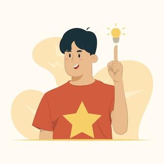 Pointant du doigt avec une idée réussie, le succès sorti pense que le concept numéro un