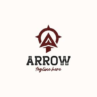 Pointe de flèche pour archer archery outdoor vintage hipster logo template isolé sur fond blanc