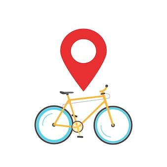 Pointeur de broche de navigation de localisation de vélo placez l'icône vecteur ou marqueur de carte de voyage à vélo