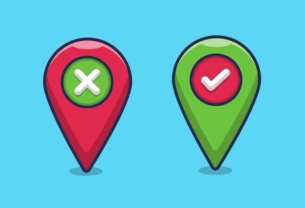 Pointeur de carte couleurs vert rouge avec des croix de coche