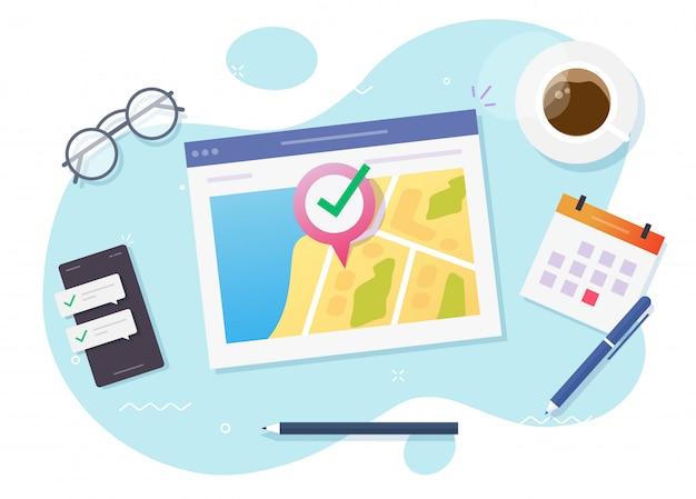 Pointeur de carte destination de la position internet et emplacement web gps en ligne sur le marqueur de position de navigation du site web ou feuille de route