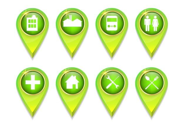 Pointeur gps broche verte 3d pour zone publique ou emplacement sur la carte