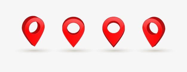 Pointeur de localisation rouge dans les icônes de broche de carte gps 3d pour les panneaux de point de destination