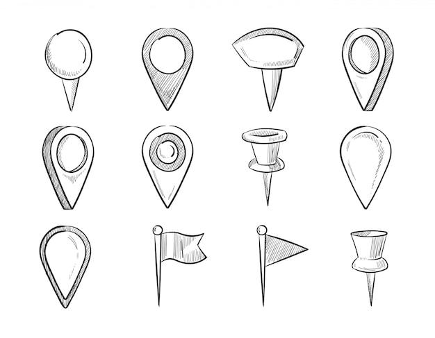 Pointeurs de carte dessinés à la main