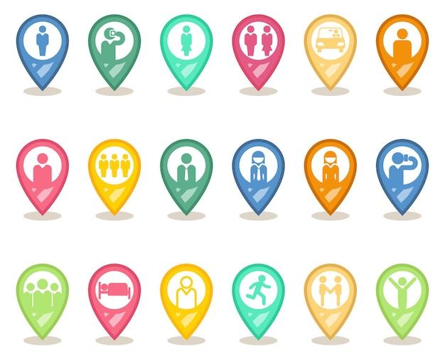 Pointeurs de carte humaine. jeu d'icônes de broche homme