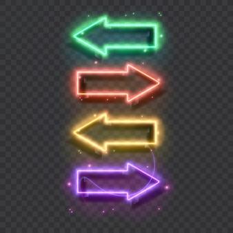 Pointeurs de flèche au néon brillant sur fond de mur de brique enseigne rétro avec tubes au néon lumineux