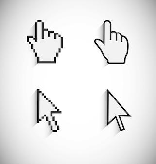Pointeurs d'ordinateur vue pixélisée et vue vectorielle