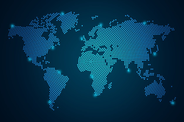 Points d'affaires de mash abstrait échelles sur fond sombre avec map world