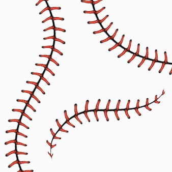 Points de baseball, lacets de softball isolés sur blanc. ensemble. point rouge pour la balle