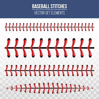 Points de baseball sportif, couture en dentelle rouge.
