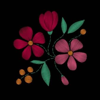 Points de broderie avec fleurs sauvages, fleurs printanières