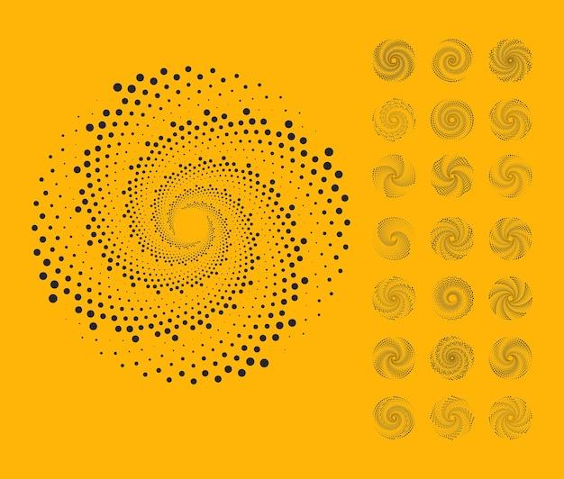 Points de demi-teintes en forme de cercle, toile de fond de points en spirale