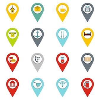 Points d'intérêt icônes définies dans un style plat