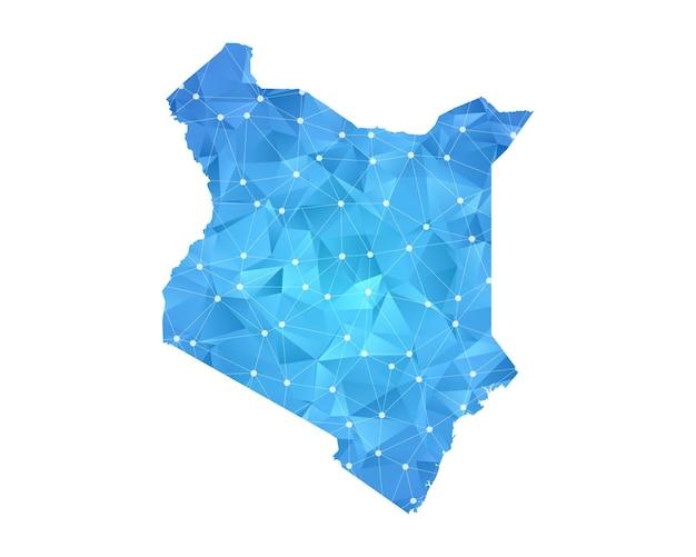 Points de ligne de carte du kenya géométriques abstraits polygonaux.