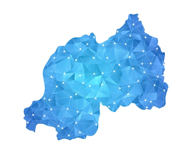 Points de ligne de carte du rwanda géométrique abstrait polygonal.