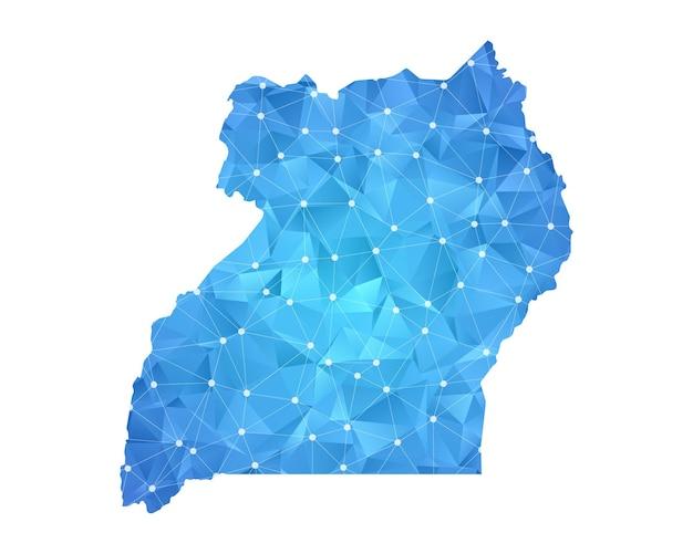 Points de ligne de carte de l'ouganda géométrique abstrait polygonal.