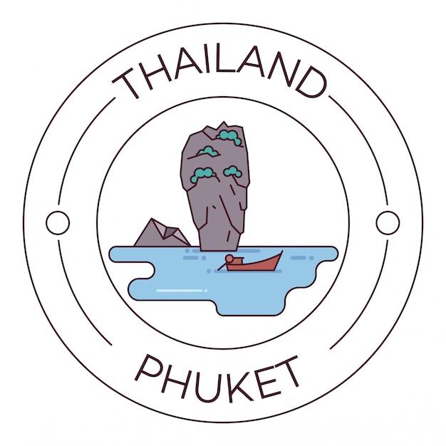 Points de repère de la thaïlande phuket flat line logo minimalist