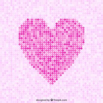 Points roses fond de coeur