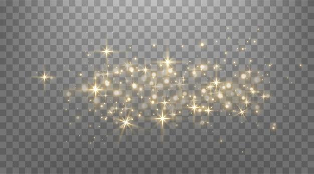 Points scintillants d'or, étincelles, particules et étoiles sur fond noir. effet de lumière abstrait. points lumineux dorés. illustration vectorielle.