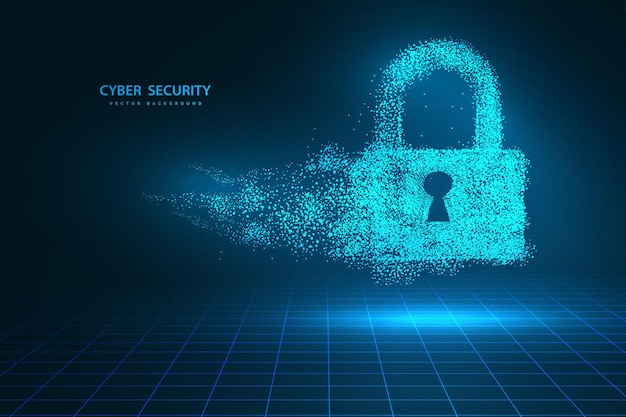 Les points sont connectés et créent un signe du verrouillage du concept de cybersécurité. concept de technologie et de réseau. internet numérique. technologie de fond abstrait. illustration vectorielle