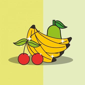 Poire cerise et banane fraîche délicieuse