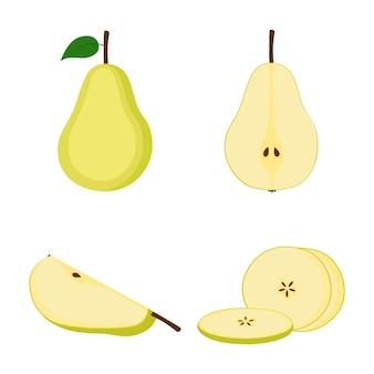 Poire, fruit entier, moitié et tranches sur fond blanc, illustration vectorielle
