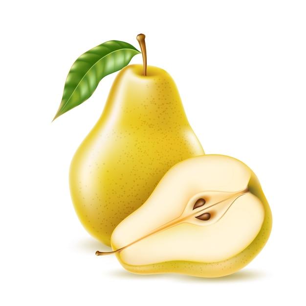 Poire jaune réaliste entière et moitié pour les aliments biologiques